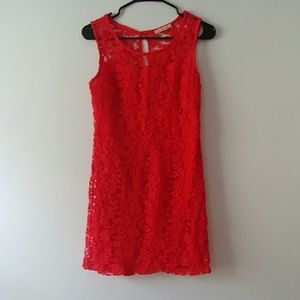 Skies are Blue red crochet dress